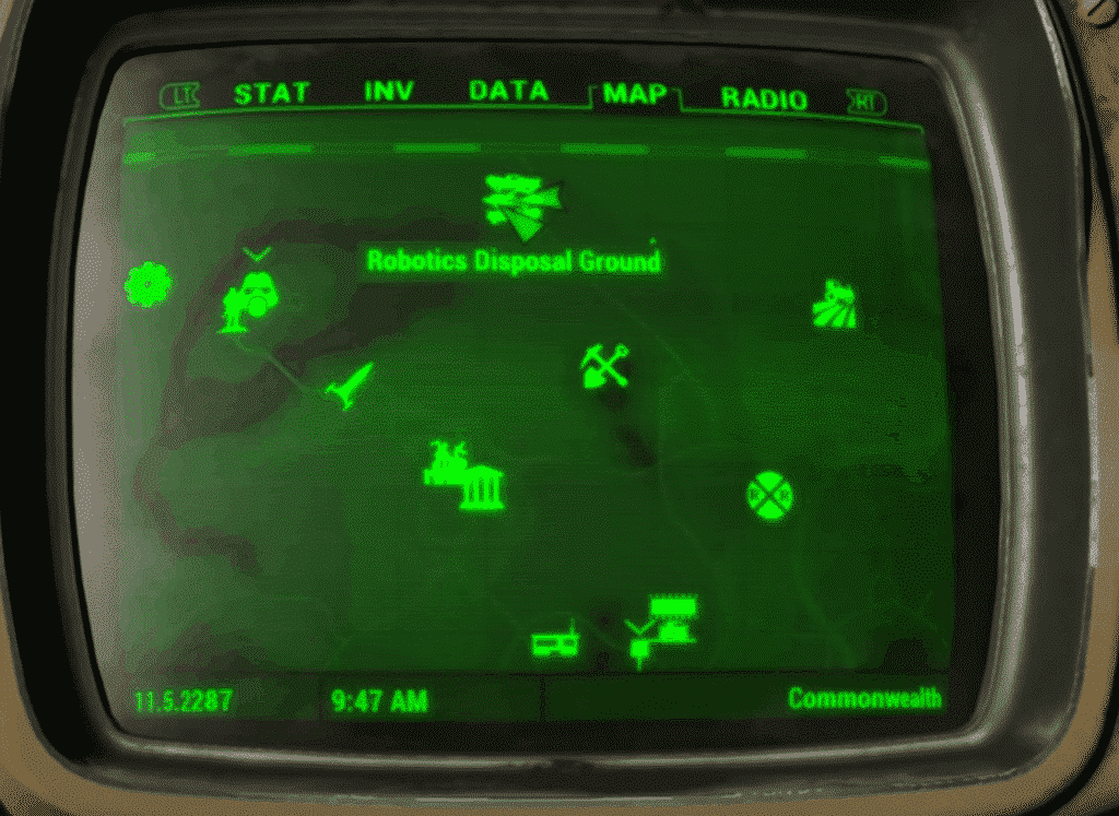Robotics Disposal Ground with map on pipboy to guide to get the Fatman in fallout 4