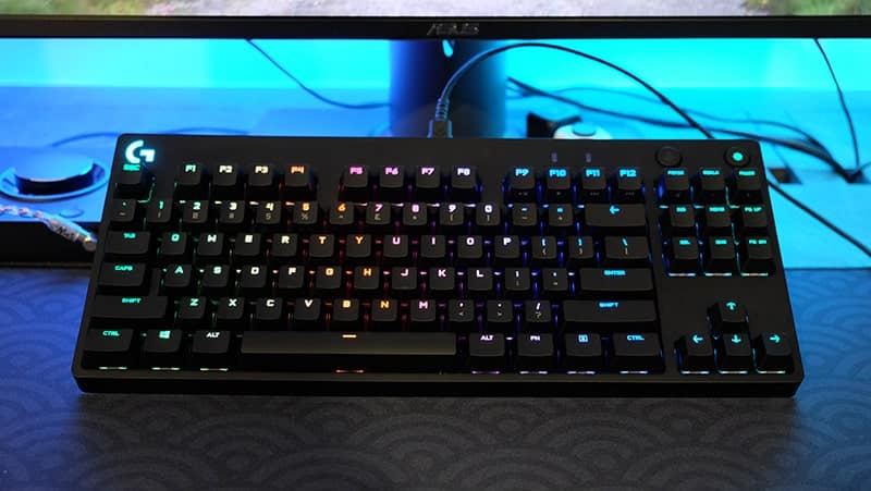 Logitech G Pro X keyboard with RGB lights behind keys, on an angle for Top 4 Gaming Keyboards of 2021