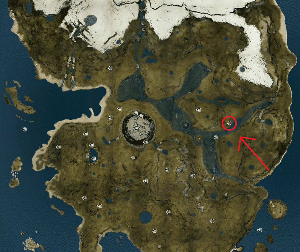 The forest map with arrow pointing to Rusty Axe location