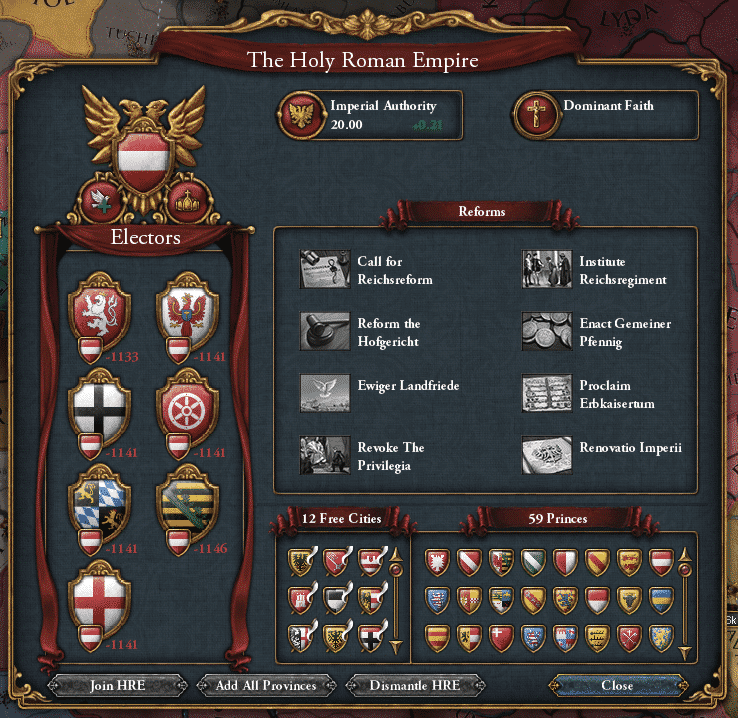 Holy Roman Empire (HRE) tab in europa universalis 4